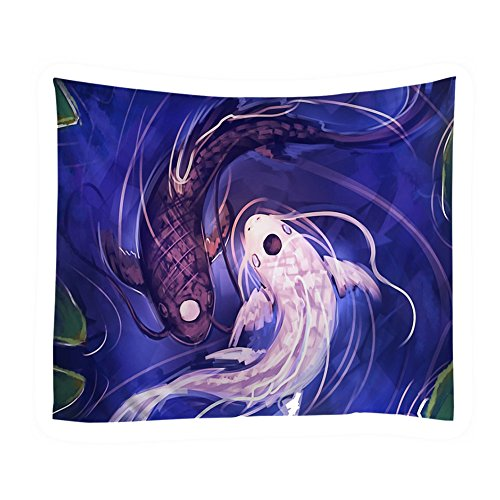 Adarl Psychedelic Natural & Mandala Style Hanging Wall Tapestries Square Gypsy Full-Polyester Tapestry Table Cover Bedspread Beach Towel Tapestry (Double Fish-2)