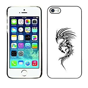 For Apple iPhone 5 / iPhone 5S Case , White Ink Tattoo Black Decal Ink - Diseño Patrón Teléfono Caso Cubierta Case Bumper Duro Protección Case Cover Funda