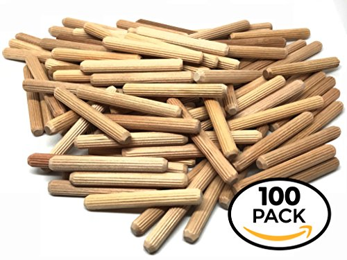 Made of Hardwood in U.S.A 100 Pack 1//2 x 2 Wooden Dowel Pins Wood Kiln Dried Fluted and Beveled Rhino Wood Industries