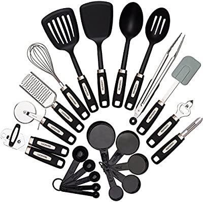 22-piece Kitchen Utensils Sets - Home Cooking Tools- Stainless Steel & Nylon Gadgets- Turners, Tongs, Spatulas, Pizza Cutter, Whisk, Bottle Opener, Grater, Peeler, Can Opener, Measuring Cups & Spoons by Generic
