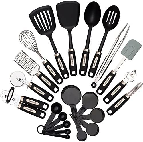 Cooking Utensils Set 22-piece - Home Kitchen Tools - Stainless Steel & Nylon Gadgets - Turners, Tongs, Spatulas, Pizza Cutter, Whisk, Bottle Opener, Grater, Peeler, Can Opener, Measuring Cups & Spoon