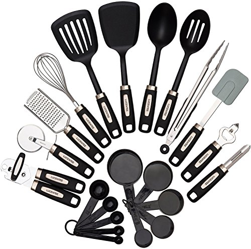 22-piece Kitchen Utensils Sets - Home Cooking Tools- Stainless Steel & Nylon Gadgets- Turners, Tongs, Spatulas
