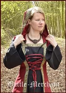 Battle Merchant Vestido Medieval Eleanor con Capucha, Rojo/Negro - Vestido del Medioevo, LARPkleid, Vestido de Vikingo - L