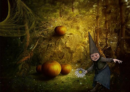Laminated 34x24 inches Poster: Gnome Fantasy Forest Young House Dark Pumpkin Halloween Fairy Tale Tale Story Girl Kids Magic Portrait Fairytale Nature Hair Charming Myth Female Legend -