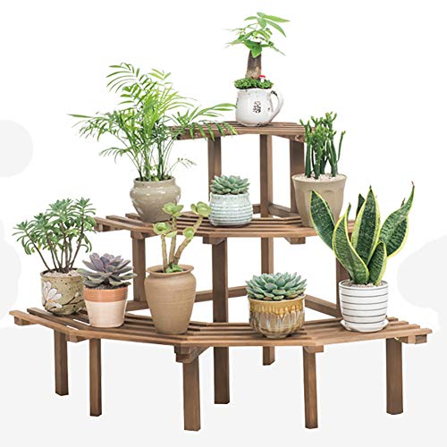 3-tier Free standing Macetas de plantas, Madera natural Estanteria para macetas Multifuncional Sostenedor de pote de flor de...