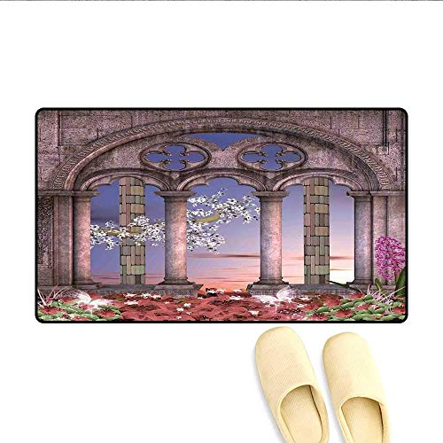 YGUII Bath Mat Ancient Colonnade in Secret Garden with Flowers at Sunset Enchanted Forest Door Mats for Inside Grey Blue Lilac Red 16X23.6in (40x60cm)