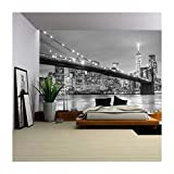 wall26 - Brooklyn Bridge and New York City Manhattan Downtown Skyline at Dusk with Skyscrapers - Removable Wall Mural | Self-Adhesive Large Wallpaper - 100x144 inches