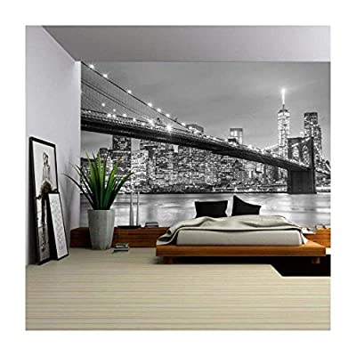 Brooklyn Bridge and New York City Manhattan Downtown Skyline at Dusk with Skyscrapers - Removable Wall Mural | Self-Adhesive Large Wallpaper - 66x96 inches