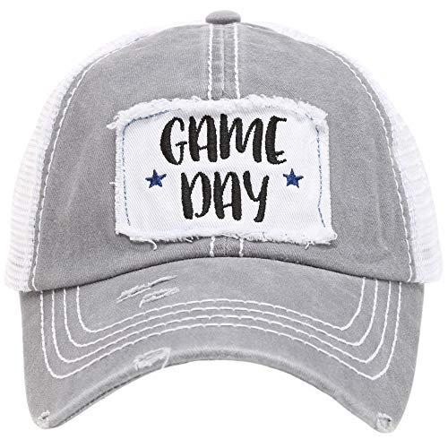 MIRMARU Women's Baseball Caps Distressed Vintage Patch Washed Cotton Low Profile Embroidered Mesh Snapback Trucker Hat (Game Day, Grey)