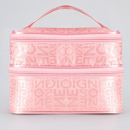 Caso cosmetico - All4you donne cerniera doppio strato da toilette viaggio borsa trucco Bag(Pink)
