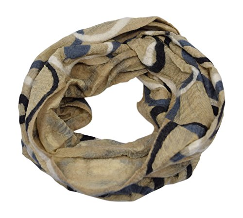 Womens Lightweight Silk Merino Wool Felted Circle Infinity Scarf with Gift Bag (Brown / White / (Weight Merino Silk)