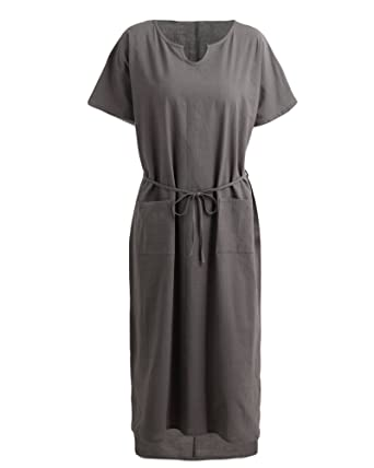 4577281fe90 Romacci Women Loose Casual Long Maxi Dress Cotton Linen Solid Color Short  Sleeve with Pockets(