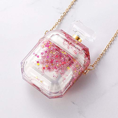 UR Sunshine AirPods Case, New Luxury Bling Brilliant Moving Star Sand Perfume Bottle Shape Design AirPods Case, Hard PC Earphone Protection Skin for AirPods1&2+Metal Lanyard -Pink (Pink Monster Lanyard)