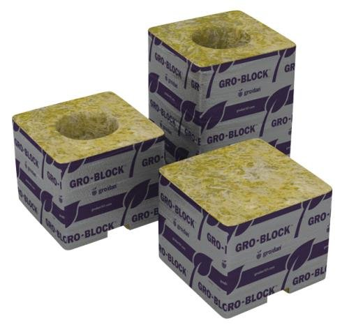 Grodan Delta 5.6 Block 3 by 3 by 4 Inch with Hole, Case of 256 - 5.6 Block