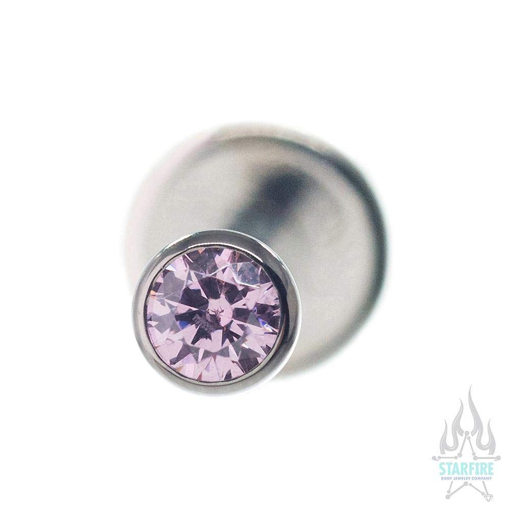 PCZ Pink CZ 40052-147 Industrial Strength 14 ga Flatback with 2.5mm Bezel-Set Round CZ Multiple Colors Available