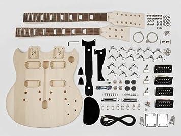 Doble cuello estilo SG guitarra Kit de montaje - Cuerpo de Tilo/22 trastes/perno en el cuello (kit-dn-10): Amazon.es: Instrumentos musicales