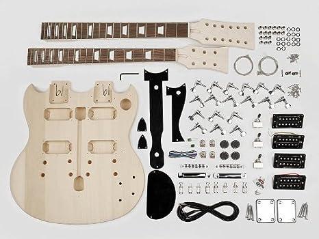 Doble cuello estilo SG guitarra Kit de montaje – Cuerpo de Tilo/22 trastes/