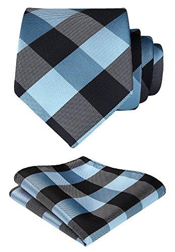 HISDERN Check Geometric Tie Handkerchief Woven Wedding Classic Men's Necktie & Pocket Square Set Blue & Black