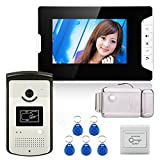 MOUNTAINONE 7'' Color Video Door Phone Intercom System With 1 Monitor 1 RFID HD Doorbell 1000TVL Camera + Electronic Door Lock