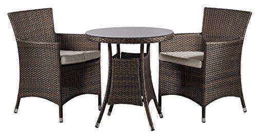 Savannah 2 Seat / Chairs Rattan Garden Furniture Set + Round Glass Dining  Table ...