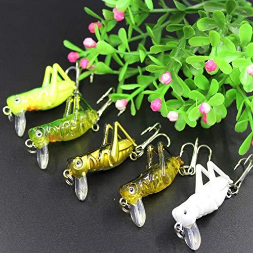 Agordo 5X Artificial Locust Grasshopper Lures Hard Bait Set Luminous Fishing Lure Hi-Q