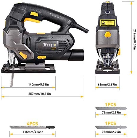 Jigsaw, TECCPO 800W 3000SPM Jigsaw with Laser, 6 Blades, 1-6 Variable Speed, 4-Position Orbital Action, Cutting Angle -45°to 45°, 78.74 in Cable, in Suitcase- TAJS01P