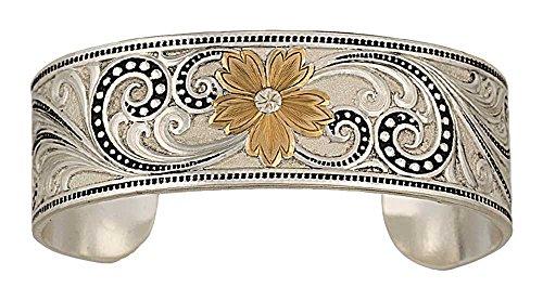 Montana Silversmiths Women's Two-Tone Western Lace Whisper Garden Cuff Bracelet Multi One Size