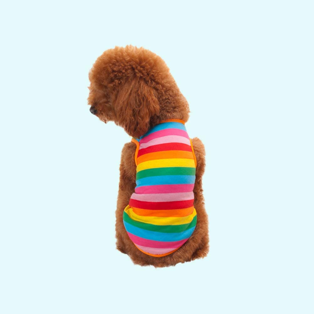 POPETPOP Stylish Dog Puppy Dress Waistcoat Rainbow Stripe Pet Summer Clothes Vest Shirts