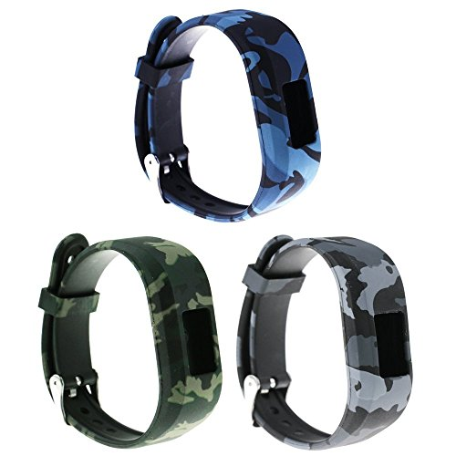 Large Replacement Bands and Straps for Garmin Vivofit JR & Vivofit JR.2 & Vivofit 3, [3pcs Floral Pattern Bands] for 5 years kids or older children, Navy/Army/Air Force (Band Army Navy)
