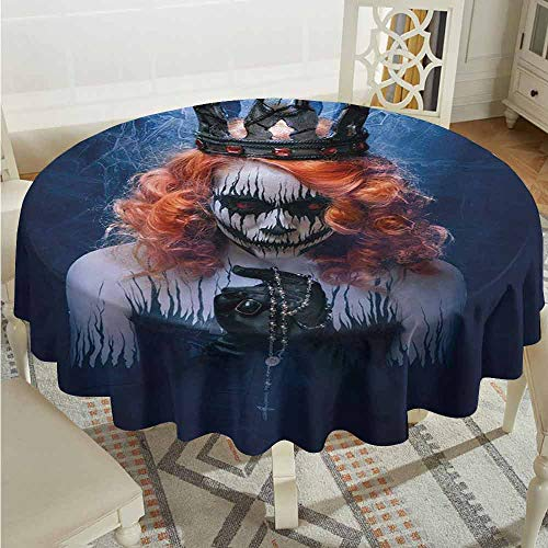 XXANS Spill-Proof Table Cover,Queen,Queen of Death Scary Body Art Halloween Evil Face Bizarre Make Up Zombie,Party Decorations Table Cover Cloth,47 INCH,Navy Blue Orange Black -