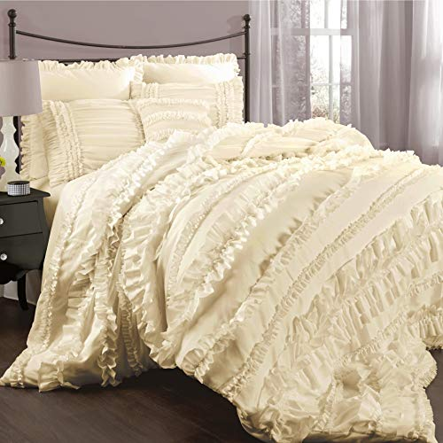 Lush Decor Belle Ivory Comforter Ruffled Shabby Chic 4 Piece Set with Bed Skirt and 2 Pillow Shams, Queen,