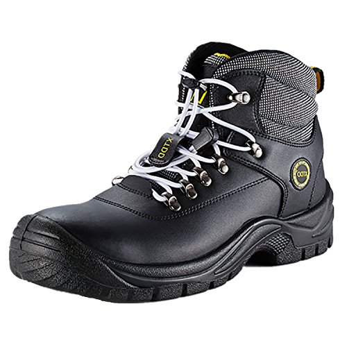 DDTX Ankle High Work Boots for Men Water Resistant Steel Toe Boots Black (Steel Toe Mens Ankle Boot)
