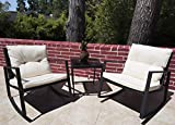 Kozyard Moana Outdoor 3-Piece Rocking Wicker Bistro