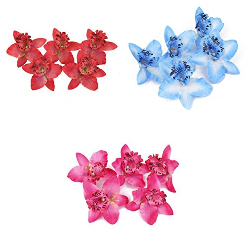 MagiDeal 60Pieces 8cm Mini Small Artificial Silk Orchid Dendrobium Flower Heads Wedding Party Decor