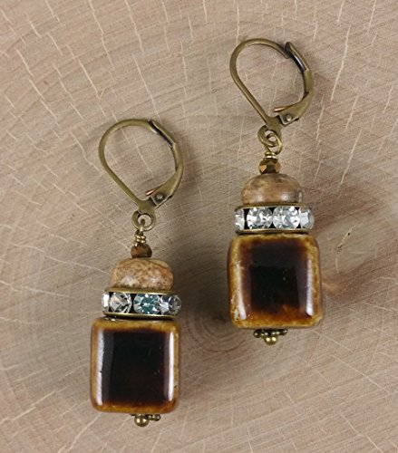 Coffee Honey Ceramic Cubes Rhinestone Crystal Roundels Jasper Gemstone and Antique Brass Earrings (Crystal Roundels Light)