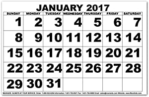 Low Vision Calendar - 2017