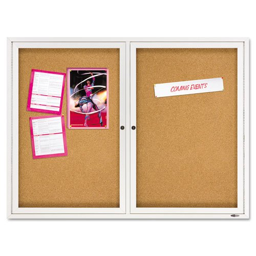 Quartet - Enclosed Bulletin Board, Natural Cork/Fiberboard, 48 x 36, Aluminum Frame 2364 (DMi EA by Quartet