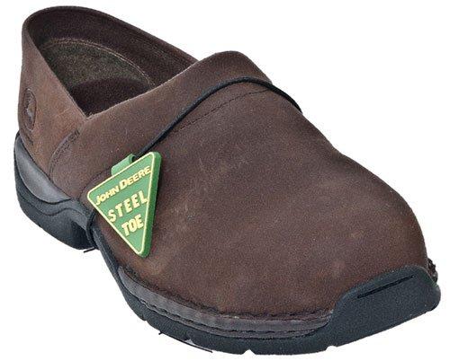 """John Deere Mens Black Leather 12"""" Waterproof Steel Toe Lace-Up Work Boots 16 W"""