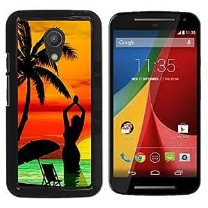 Qstar Arte & diseño plástico duro Fundas Cover Cubre Hard Case Cover para Motorola MOTO G 2ND GEN II ( Palm Tree Beach Sunset Yoga Woman Sea)