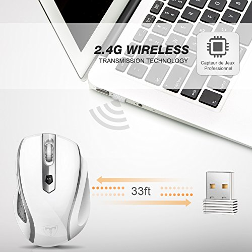 VicTsing MM057 2.4G Wireless Portable Mobile Mouse Optical Mice with USB Receiver, 5 Adjustable DPI Levels, 6 Buttons for Notebook, PC, Laptop, Computer, Macbook - White by VicTsing (Image #2)