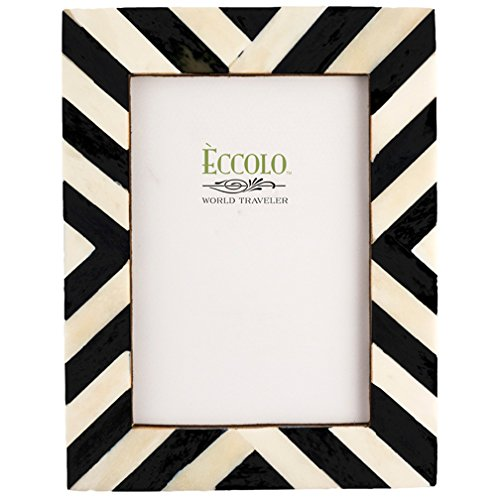 Eccolo Naturals Frame, 5 by 7-Inch, Angled Stripes Black