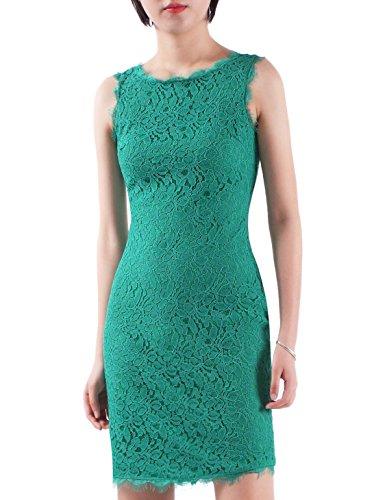 Emerald Cocktail Dresses (Alisa Pan Elegant Floral Sleeveless Lace Cocktail Evening Dress 6 US Emerald Green)