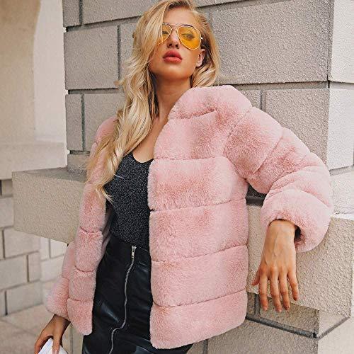 Cálido Prendas Parka Coat Invierno Abrigo Exteriores Rosado Faux Fur De Las Moda Vestir Outwear Chaqueta Escudo Señoras Mujeres Jacket Casual B8qBwa