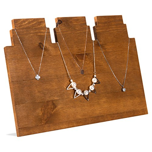 (MyGift Rustic Brown Wooden Multi-Tiered Necklace Display Stand)