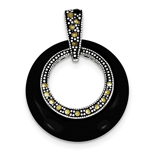 925 Sterling Silver Onyx Marcasite Circle Slide Pendant ()