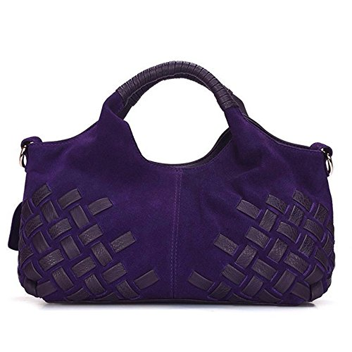 - Nico Louise Women Weave Suede Genuine Leather Handbag Female Leisure Casual Lady Crossbody Shoulder Bag Messenger Top-handle Bags (Purple smal)