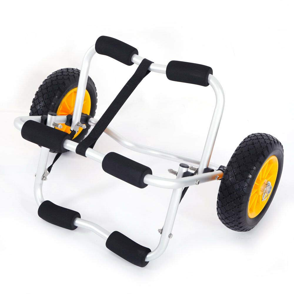 W4-moto Bend Kayak Canoe Boat Carrier Dolly Trailer Trolley Transport Cart Boat Wheel with NO-Flat Airless Tires Wheels Yellow by W4-moto