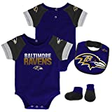 NFL by Outerstuff NFL Baltimore Ravens Newborn & Infant 50 Yard Dash Bodysuit, Bib & Bootie Set Ravens Purple, 0-3 Months