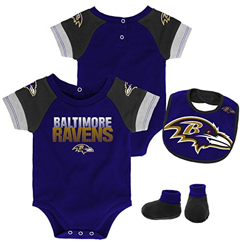 Outerstuff NFL NFL Baltimore Ravens Newborn & Infant 50 Yard Dash Bodysuit, Bib & Bootie Set Ravens Purple, 18 Months ()