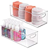 mDesign Storage Bins with Built-in Handles for Organizing Hand Soaps, Body Wash, Shampoos, Lotion, Conditioners, Hand Towels, Hair Accessories, Body Spray, Mouthwash - 16'' Long, Pack of 2, Clear